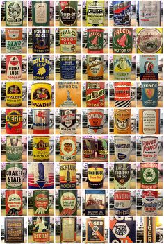 Vintage motor oil cans PD Old Gas Pumps, Vintage Gas Pumps, Vintage Oil Cans, Vintage Tins, Vintage Auto, Pompe A Essence, Logos Retro, Old Gas Stations, Filling Station