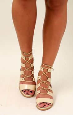 Larena Fashion - Ladies Ghillie Chunky Mid Heel Peep Toe Suede or PU Lace Up Ankle Sandals Beige PU, £9.99 (http://larenafashion.co.uk/ladies-ghillie-chunky-mid-heel-peep-toe-suede-or-pu-lace-up-ankle-sandals-beige-pu/)