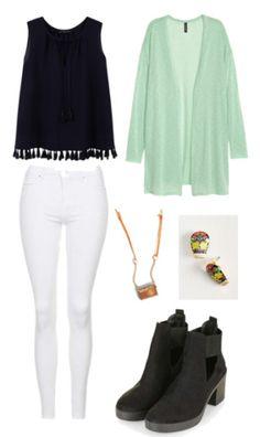 Black shirt, white pants, mint cardigan, brown necklace, gold earrings, black shoes