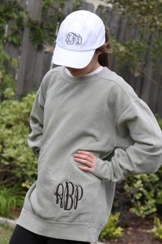 HIP Monogrammed Comfort Colors Sweatshirt Unisex Sizes Personalize with your Initials, Monogram or State Embroidery by ImpactEmbroidery on Etsy https://www.etsy.com/listing/210089773/hip-monogrammed-comfort-colors