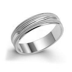 Comfort Fit Men's Wedding Band - Affordable price offers - stylish finishing with comfortable - This band features 14k white gold wedding band with multi groove design - Our Price: $339.99 - http://www.mybridalring.com/Mens/14k-5mm-white-gold-comfort-fit-wedding-band/