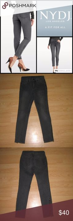 """Not Your Daughter's Jeans (Petite) Skinny Leggings These jeans are preloved but still in very good condition. They are the Amelie Ankle Zip Legging in Premium Lightweight Denim Basalt wash, which is a gray color. This chic silhouette features a slim leg opening of 11.5"""" with a zipper detail that hits perfectly at the ankle. Also features their exclusive Lift Tuck Technology. Made of 80% cotton 19% polyester 1% spandex. Tag size is 2P.  Waist across with natural dip is 12"""" Waist across when…"""