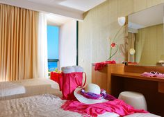 Rooms Malia Crete - Rooms triple with sea view - triple room malia Triple Room, Crete, Rooms, Curtains, Sea, Home Decor, Bedrooms, Blinds, Decoration Home