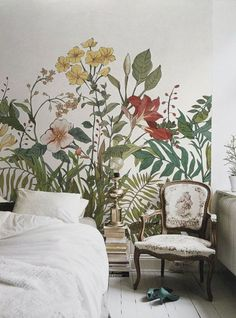 Let's chat about wall murals. From the bedroom to the living room, I'm going to share my favorite examples and I think you'll see why I am crushing on wall murals! Rustic Walls, Rustic Wall Decor, Bedroom Murals, Bedroom Decor, Bedroom Ideas, Design Bedroom, Wall Paper Bedroom, Lilac Walls, Wall Design