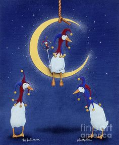 Will Bullas Painting - The Fool Moon. Fool Moon, Cartoon Art Styles, Moon Print, Christmas Paintings, Stars And Moon, Art World, Pet Portraits, Pretty Pictures, Painting Inspiration