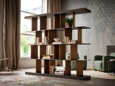 Buy online Hakkasan By elite to be, double face bookshelf with revolving wooden partitions Wooden Partition Design, Wooden Partitions, Built In Bookcase, Bookshelves, Entryway Decor, Diy Bedroom Decor, Home Decor, Muebles Home, Casa Milano