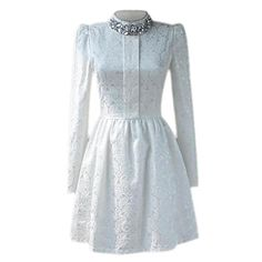 Lace Diamante Zippered Long Sleeves White Dress | pariscoming