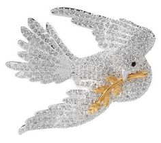 Joan Rivers Pave Dove of Peace Pin