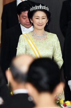 Japanese Princess Kiko attend the state dinner for King Felipe VI and Queen Letizia of Spain at the Imperial Palace on April 5, 2017 in Tokyo, Japan.