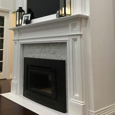 Love this Herringbone Carrara marble fireplace and our customer did too #happycustomer #tilepowergregoryhills #tpghtiles