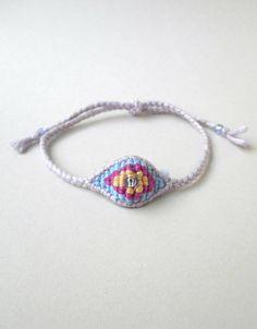 Pastel evil eye Kawaii bracelet Cotton evil eye Yarn