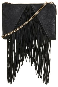Suede V-Panel Tassel Clutch - New In This Week - New In - Topshop