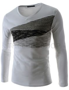 (AGLT03-WHITE) Mens Slim Fit V-neck 3 Tone Chest Knit Patched Long Sleeve Tshirts