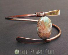 Copper wrap bangle with a feature jasper stone. Rustic Jewelry, Copper Jewelry, Stone Jewelry, Wire Jewelry, Crystal Jewelry, Jewelry Art, Jewelry Ideas, Copper Bracelet, Metal Bracelets