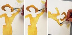 """Nice tutorial for the beginner. Love how she explains things :) """"Now load your brush with some of your pre-mixed paint and begin applying it to the wet areas of your drawing. Just watch what it does…this is really fun!!"""