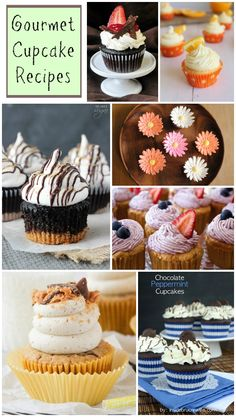 Cupcakes (Collection These Gourmet Cupcakes would be a great addition to your next party dessert table. A collection of delicious recipes.These Gourmet Cupcakes would be a great addition to your next party dessert table. A collection of delicious recipes. Dessert Party, Party Desserts, Just Desserts, Dessert Recipes, Dessert Table, Chef Recipes, Dinner Recipes, Gourmet Cupcakes, Yummy Cupcakes
