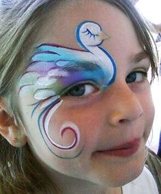Swan face paint design cheek art