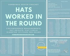 Hats Worked in the Round. Measurements, Hat Heights, Flat Circle Diameter, Stitches Per Round. Quick Crochet, Crochet Art, Learn To Crochet, Crochet Stitches, Crochet Patterns, Crochet Tutorials, Crochet Basics, Crochet Gifts, Video Tutorials