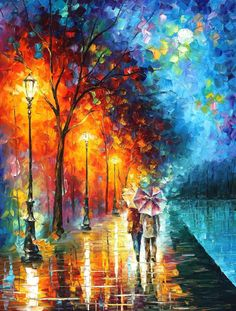 """Love By The Lake — PALETTE KNIFE Landscape Oil Painting On Canvas By Leonid Afremov - Size: 30"""" x 40"""" (75cm x 100cm)"""