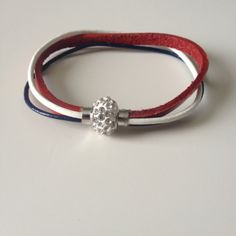 Red White Blue Multi Strand Leather Bracelet with Magnet Clasp -...