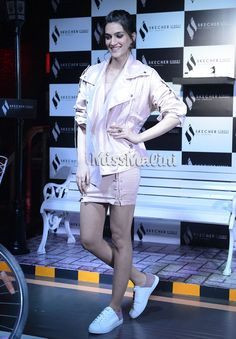 While we didn't peg her to be a 'moto jacket' kind of a girl, this badass yet cute avatar suits her so much! Katrina Kaif Hot Pics, Moto Jacket, Jacket Style, Lust, Dressing, Queen, Fashion Outfits, Shirt Dress, Celebrities