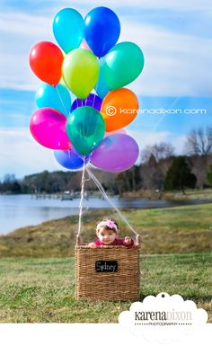 """Hot air balloon"" basket. @Shannon Payne, what do you think about this for a photo spot for kids at the party? Too difficult amid the chaos?"