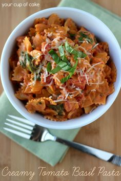 Creamy tomato basil pasta w/spinach