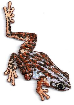 FROG ~ SHIMMERY/EMBROIDERED BROWNS IRON ON APPLIQUE
