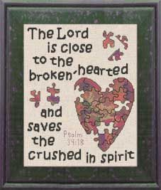 Cross Stitch Kits Brokenhearted - Psalm - Cross Stitch Bible Verse Psalm The Lord is close to the brokenhearted and saves the crushed in spirit, Cross Stitch Quotes, Cross Stitch Kits, Cross Stitch Charts, Cross Stitch Designs, Cross Stitch Patterns, Cross Stitching, Cross Stitch Embroidery, Embroidery Patterns, Hand Embroidery