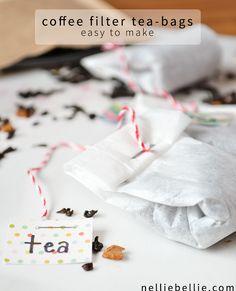 Make your own tea bags from coffee filters. Perfect for when you want to use loose-leaf. Or for gifting.: Make your own tea bags from coffee filters. Perfect for when you want to use loose-leaf. Or for gifting. Coffee Filter Crafts, Coffee Filters, Homemade Gifts, Diy Gifts, Homemade Tea, Diy Tea Bags, Smoothies, Diy And Crafts Sewing, Crochet Crafts