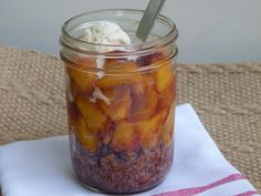 individual warm peach pie pots recipe -- sub coconut oil for butter and Grade A maple syrup or agave for honey