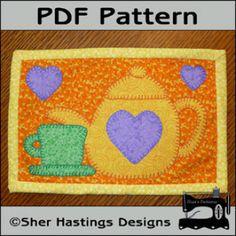 Tea Time Mug Rug  PDF pattern- Tea Time Mini Quilt | YouCanMakeThis.com