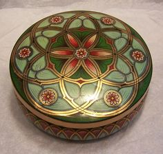 Vintage Meister Round Green Gold Floral Tin Made in Brazil | eBay