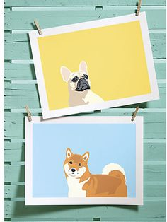 French Bulldog and Shiba Inu Screen Prints, $44.95 each, from CB2