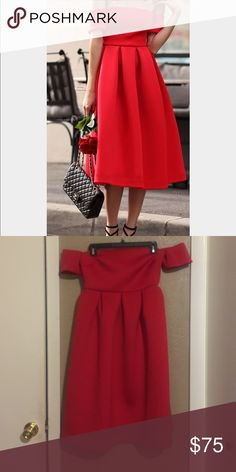 Red Midi off the shoulder dress Absolutely love this dress. I wore it to my best friends wedding and got so many compliments! It's a size 4. The hanger makes it look kind of weird but it looks like the cover photo when worn. Dresses Midi
