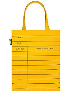 Out of Print Library Card Tote Bag Yellow, 14 X 18 Inches