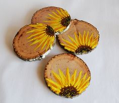 These beautiful hand painted wooden coasters in a bright sunflower design will brighten up your home and believe me, you will fall in love with them Wooden Coasters Diy, Rustic Coasters, Wooden Diy, Wood Slice Crafts, Wood Crafts, Wooden Slices, Coaster Crafts, How To Make Coasters, Wood Painting Art