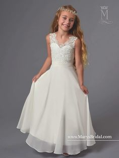 Sleeveless Venetian Lace Flower Girl Dress by Mary's Bridal Cupids F565