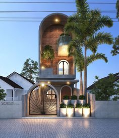 Exterior design works The Modern style in Vinh Phuc CIRCLE HOUSE, works by architect Nguyen Cong Anh Image design completed in 2018 Studios Architecture, Facade Architecture, Residential Architecture, Amazing Architecture, Design Exterior, Facade Design, House Front Design, Modern House Design, Flat House Design