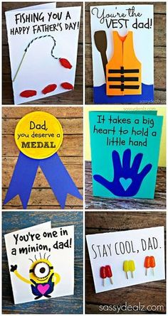 Father's Day Card Ideas For Kids or Adults to Make! (I love the popsicle card!) clever fathers day gifts, fathers day gifts to grandpa, fathers day cricut ideas Fathers Day Art, Fathers Day Crafts, Fathers Day Puns, Happy Fathers Day Cards, Dad Crafts, Diy Father's Day Gifts, Father's Day Diy, Father's Day Activities, Daddy Day