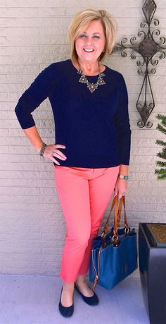 50 IS NOT OLD | HOW TO STYLE WITH TWO SOLID COLORS | Coral + Navy | Spring Outfit | Ankle Pants | Fashion over 40 for the everyday woman