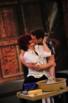 """THE TALK co-host Sharon Osbourne reenacts the famous pottery wheel scene in the movie """"Ghost"""" and shares an outrageous and impromptu kiss with the Broadway star from """"Ghost: The Musical,"""" Richard Fleeshman."""