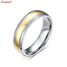 Louleur 2017 Fashion Gold Color Wedding Engagement Band Ring Mens Classic Titanium Steel Male Ring Jewelry anillos hombre F8466