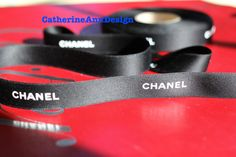 """Authentic Chanel ribbon 1 yard black and white LOGO satin 3/4"""" for hair bows headband dog collars key fob scrapbooking gift wrapping on Etsy, $11.22 CAD"""