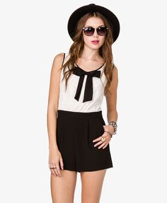 Chiffon Bow Lace Romper   FOREVER21 - 2026299251