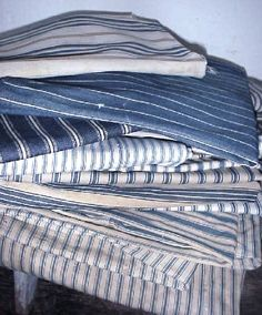 old blue ticking fabric More