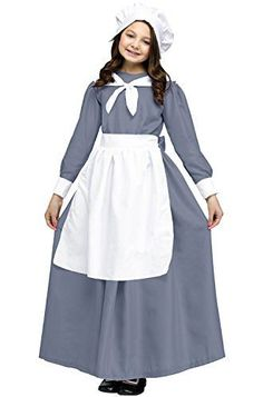 Wear this beautiful pilgrim costume for a special event or holiday. Includes: gown, cap, apron