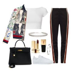 """Sans titre #665"" by charliesclothes ❤ liked on Polyvore featuring Wales Bonner, Helmut Lang, adidas Originals, Humble Chic, Gucci, Hermès and Yves Saint Laurent"