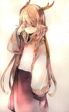 .Anime art, Little girl, yellow eyes, pointy ears, creature, horns