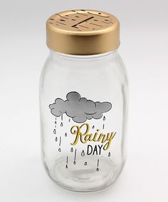 Save your pennies for a new adventure in this handsome mason jar, emblazoned with an inspiring message. Full graphic text: Rainy H x diameterGlassImported Mason Jar Bank, Mason Jars, Canning Jars, Glass Jars, Mason Jar Projects, Mason Jar Crafts, Crafty Projects, Rainy Day Fund, Coin Jar